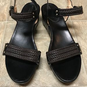 Sergio Rossi Shoes - SergioRossi Blk Leather PlatformBraided SandalW•40